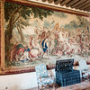 In the Guard Room - a 17th century tapestry depicting a scene from the life of Athenian General Cimon hanging over a rare 16th century 250 KG safe.