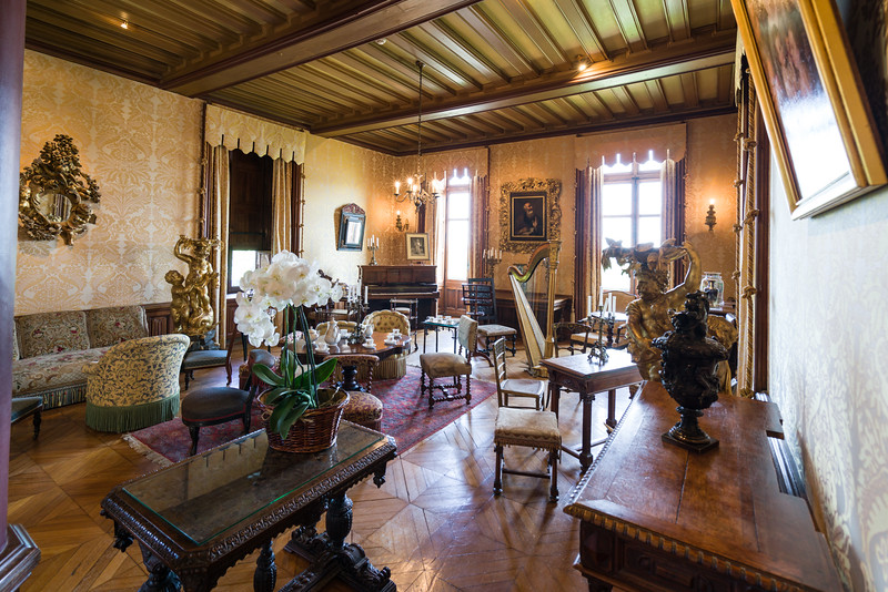 The grand living room with furnishings dating back to the late 19th century.
