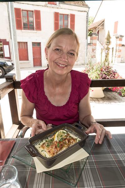 Naomi with lasagna.