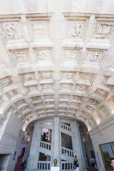 Part of the ornate vaulted ceiling of the second (French accounting)/third (US accounting) floor showing the salamander representing François the first.