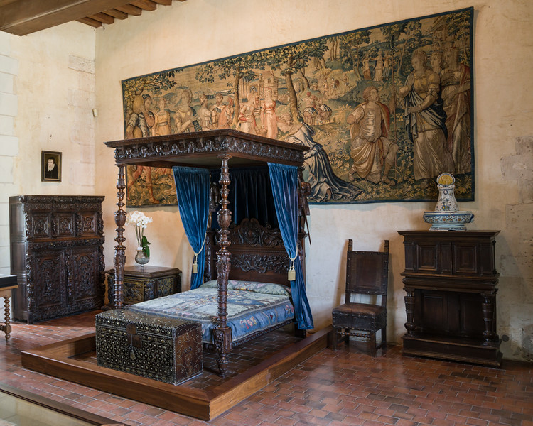 """The Catherine de Medici Room. It contains the oldest tapistry in the château's collection - """"""""The Story of Perseus and Pegasus woven in the late 15th century."""