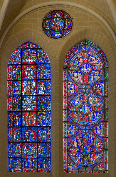 The Blue Virgin and St. Anthony & St. Paul Anchorite windows with the Virgin and Child window on top.
