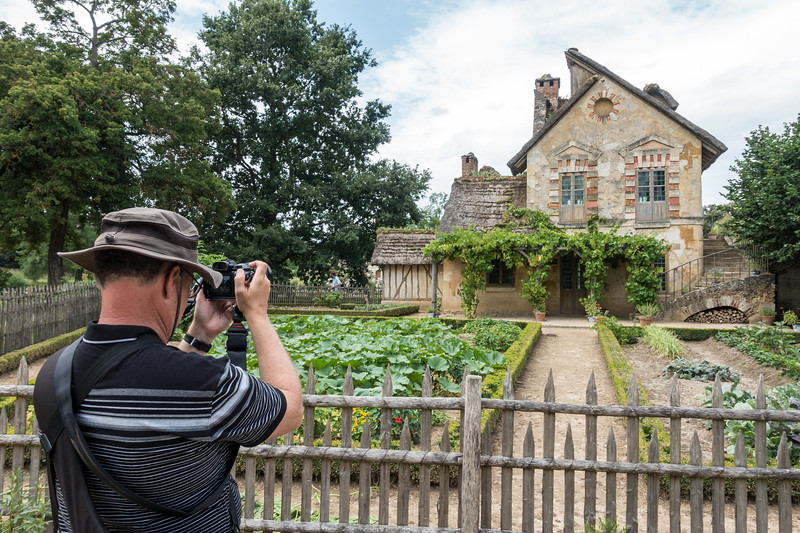 Photographer and the back of the mill (with its vegetable garden).