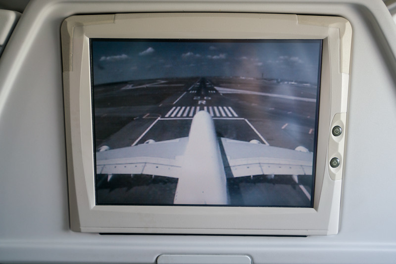 The tail cam on the A380 during taxi for takeoff.