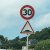 Speed limit 30, and watch out for either the raised intersection or a snake that just ate something big.