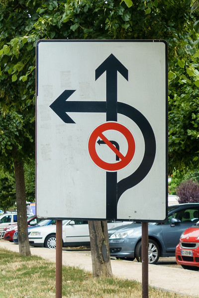 We cannot turn left, but we need to! Oh, wait, if we turn right, we can then turn left.