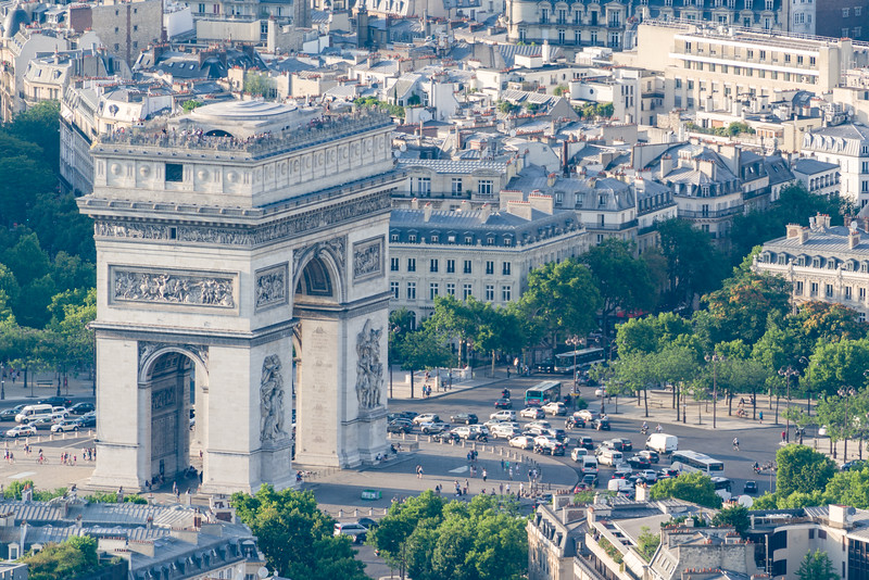 Close up of l'Arc de Triomphe (with the very busy round-a-bout encircling it) as seen from the top of La Tour Eiffel.