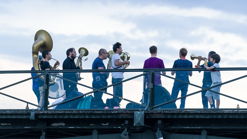 Random brass band playing on le Pont des Arts.
