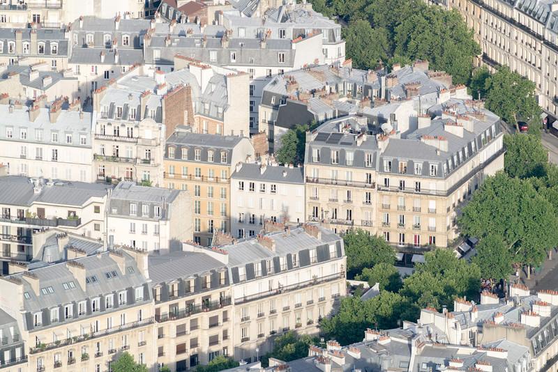 Our hotel (Hôtel Le Walt Paris) - tan/brown building 4th from end.