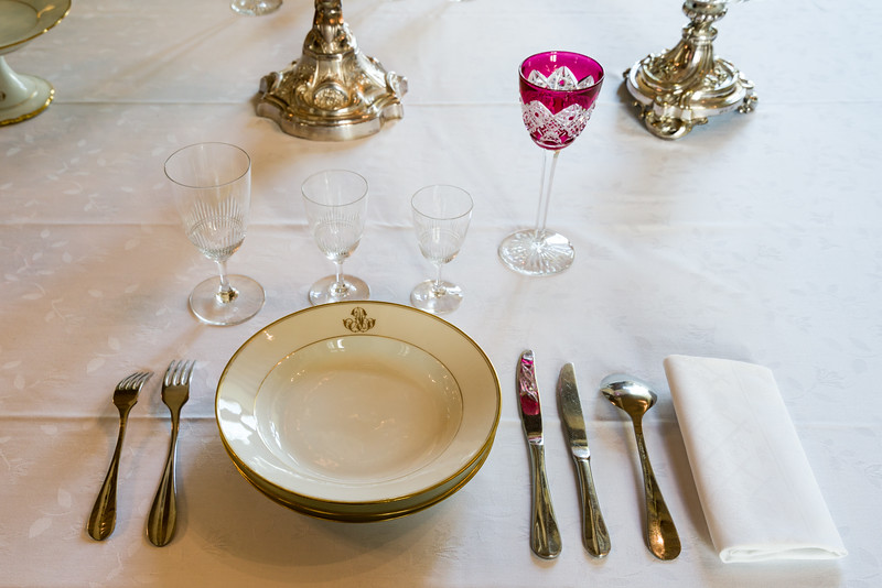 One place setting (note the fork placement influenced by Louis 15th).