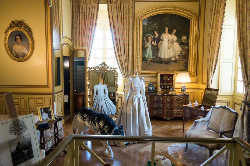 The Bridal chamber with the 1994 wedding dress of the Marquise de Vibraye.