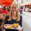 Naomi with her omelette and frites.