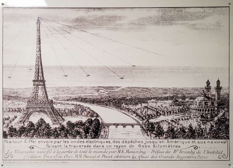 Caption reads: The Eiffel Tower sends, via electronic waves, dispatches to America and ships making the crossing within a radius of 6000 kilometers.