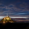 Mont St. Michel lit up at night (around 11:20 pm).