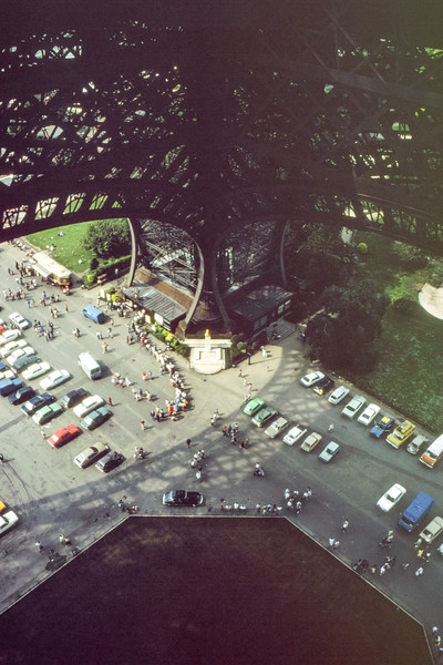 Looking down from the first floor of the Eiffel Tower in 1979. (Not many cars park there now.)