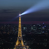 La Tour Eiffel with searchlight and sparkle lights