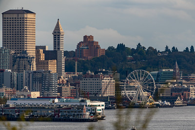 View of the Seattle waterfront, including the Seattle Great Wheel as seen from Ursula Judkins Viewpoint.