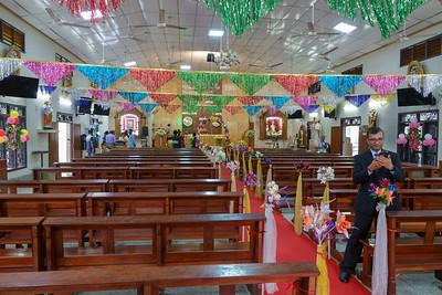 A decorated church, and a random photographer.