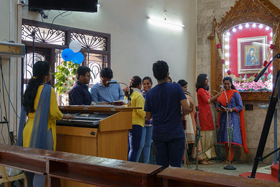 The choir, getting ready to sing.
