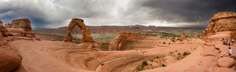 The dark sky to the right of Delicate Arch had bolts of lightning;  just missed capturing them
