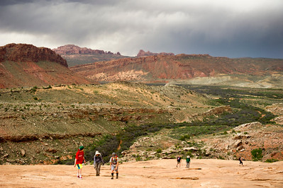 Watching the turbulent weather behind us on the hike to Delicate Arch