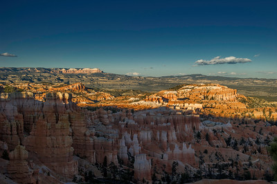 The shadow line continues up the hoodoos