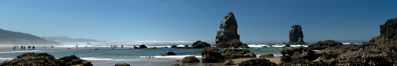Panorama of Cannon Beach with the Needles.  12x72 Panorama is quite detailed at full size.