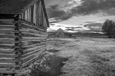 Old Cabin and Barn B&W