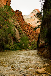 "Where ""The Narrows"" starts; a hike in the river into a slot canyon."