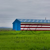 Red, White and Blue American flag painted barn