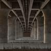 Underside of a concrete bridge