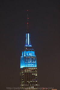 Empire State Building lit up in blue on Feb, 6th 2012 in celebration of the Giants winning Superbowl 47.