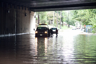 Lodi NJ, Main St under Rt.80, 2 cars which decided to try and go through the flooded roadway didn't make it and needed to be towed.