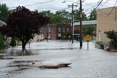 Lodi NJ, Main St in area of Mitchell St. severely flooded with 5+ ft of water and rising.