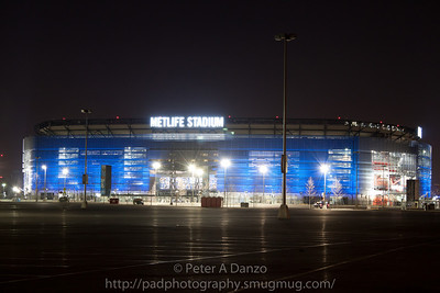 Metlife Stadium, East Rutherford NJ, home the the Giants and the Jets football teams, in blue on Feb. 6, 2012 to celebrate the Giants winning Superbowl 47 against the New England Patriots.
