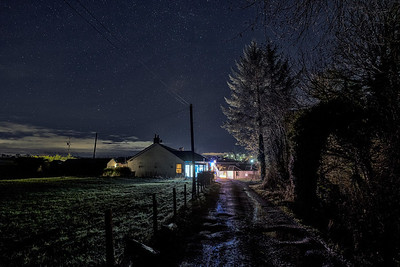A starry night on a farm track in Coalhall