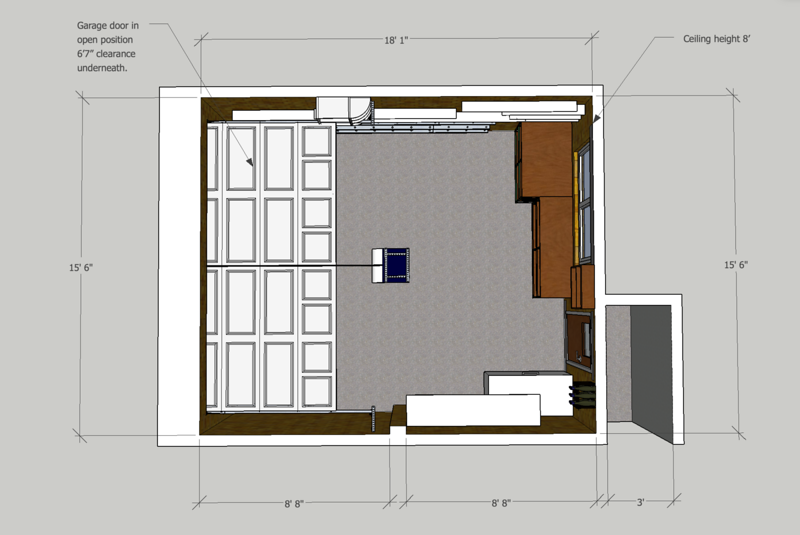 Plan with garage door shown in open position.