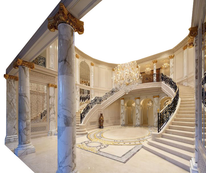VERSION 2 - A grand Hallway with practical curved stairs. No ceiling. Lots of marble and gold. Floor design will have a special pattern, maybe of owners names or crest - in construction costs. Backing flat behind to central door upstairs. Build only the walls seen here, including the foreground pillars and wall to the far right.