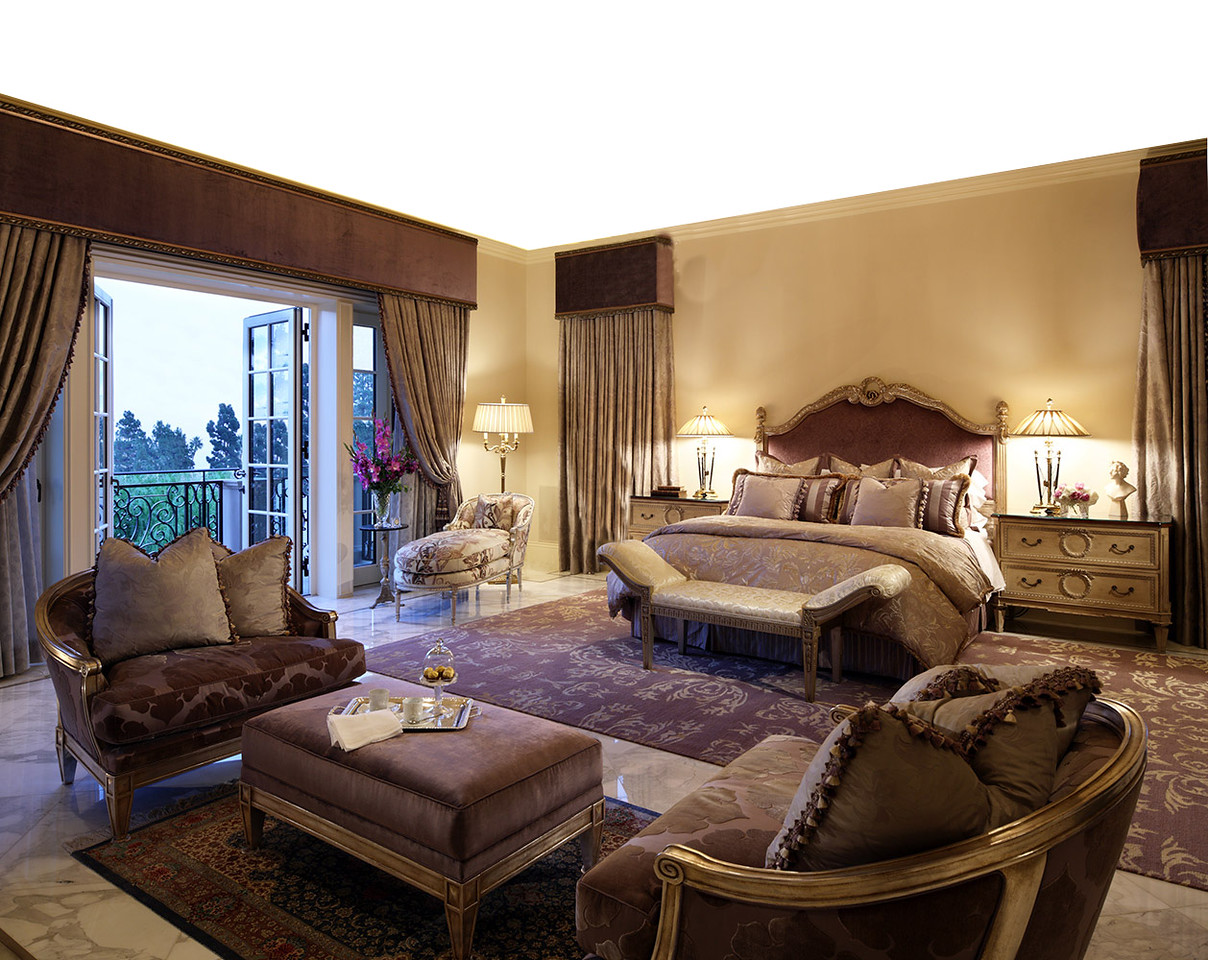 VERSION 2 - A large millionaires Beverly Hills style bedroom. No ceiling required. Close up on bed and also top shot of whole room. Carpet from props budget but will need MDF painted marble floor.  Night time scene. No backing is required as curtains will be closed. Construction supply the painted marble floor. Lamps, tables, mattress, bedding, pillows, furniture, artwork, padded headboard, curtains, etc.