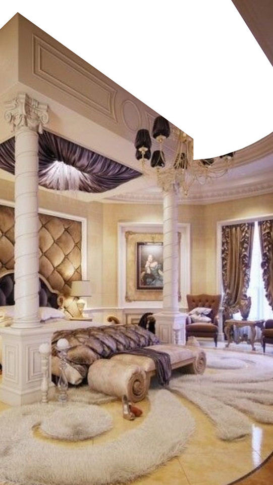 VERSION 1 - A large millionaires Beverly Hills style bedroom. No ceiling required. Close up on bed and also top shot of whole room. Carpet from props budget but will need MDF painted marble floor.  Night time so no backings, curtains closed. Construction supply the painted marble floor. Lamps, tables, mattress, bedding, pillows, furniture, artwork, padded headboard, curtains, etc.