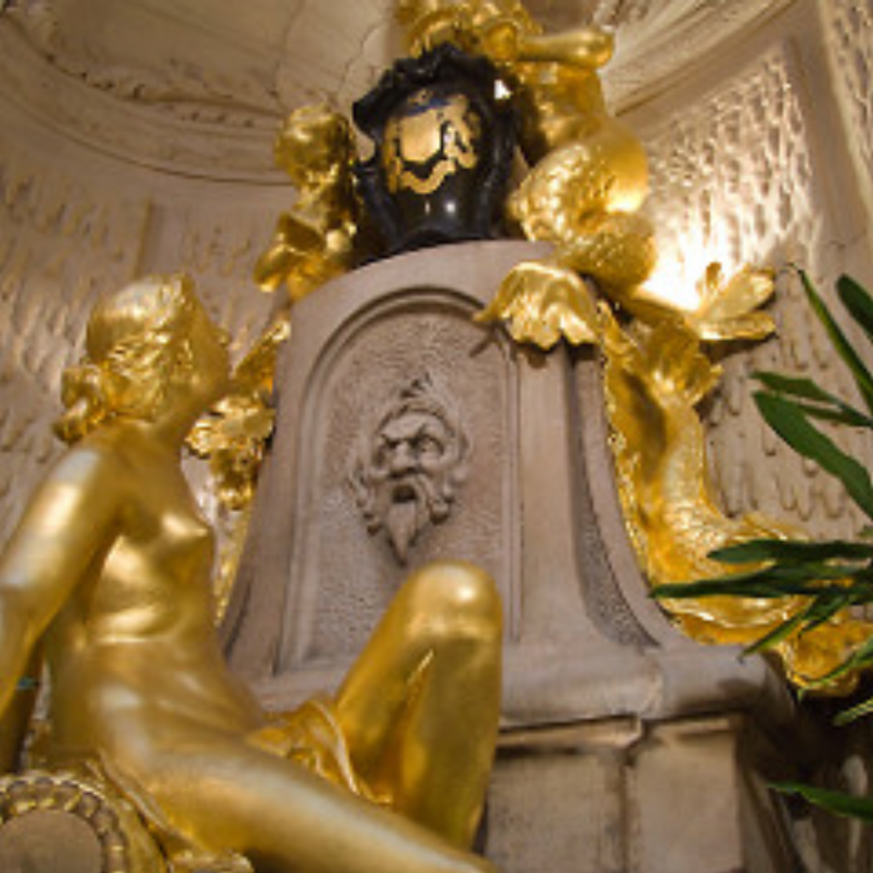 13. Again, gold mix with stone or creamy marble would look nice.
