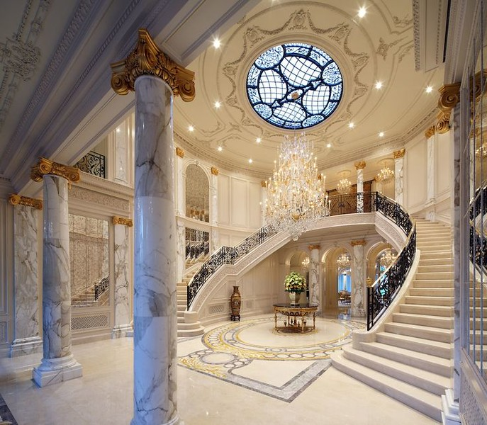 1. Build staircase, walls, foreground pillars. Create a really great looking marble floor pattern for the top shot. The two staircases would frame the fountain nicely.