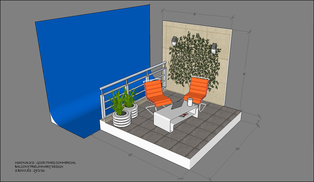 This apartment balcony is supposed to be in Hong Kong. The materials in the dressing should be synthetic to contrast with the natural materials in the old couples house by the football pitch. The view will be composited in on the blue screen.