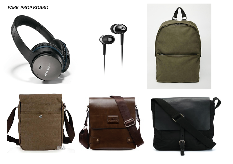 Headphone, ear bud and bag options for Guy in Park enjoying a McCafe Coffee.
