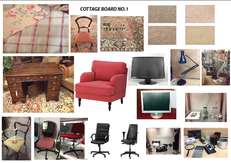 Older Couple Cottage Living Room Dressing 1. Update; using the antique style chair bottom left rather than modern office style chair. Also chosen the black edged monitor rather than the silver one. Key colours salmon, cream and antique wood.