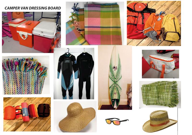 Camper Van Surfing Dressing. Key colours orange, purple, red and greens. Avoiding blue.,