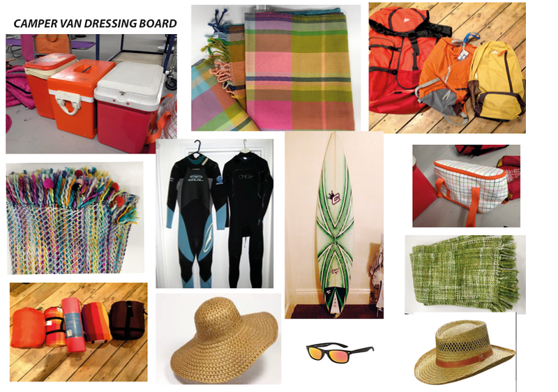 Camper Van Surfing Dressing. Key colours orange, purple, red and greens. Avoiding blue.,