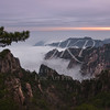 Cloud covered China's Mt Huangshan, Yellow Mountains as sunrise
