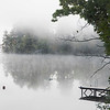 Fog covered Highland Lake in Connecticut