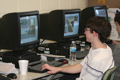 Nick and Connor working on the animation.